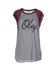 Obey Topwear T Shirts Women Grey