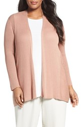 Eileen Fisher Plus Size Women's Ribbed Silk And Organic Cotton Cardigan Toffee Cream