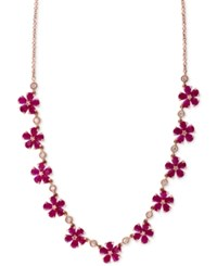 Effy Collection Rosa By Effy Ruby 13 Ct. T.W. And Diamond 1 2 Ct. T.W. Collar Necklace In 14K Rose Gold