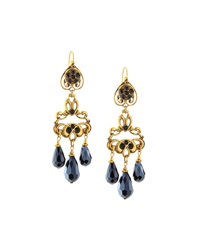 Jose And Maria Barrera Crystal Chandelier Drop Earrings Black