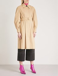 Moandco. Puffed Sleeve Cotton Trench Coat Prairie Sand