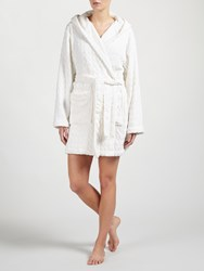 John Lewis Embossed Leaf Short Hooded Robe Ivory