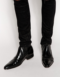 Asos Western Chelsea Boots In Leather Black