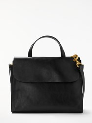 John Lewis Rosa Leather Work Tote Bag Black