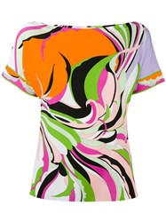 Emilio Pucci Rainbow Printed T Shirt Pink Purple
