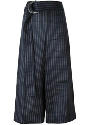 Victoria Beckham Striped Cropped Trousers Blue