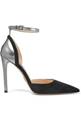 Prada Metallic Leather Trimmed Suede Pumps Black