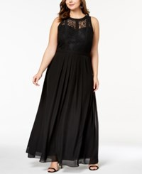 Betsy And Adam Plus Size Lace Bodice Illusion Gown Black