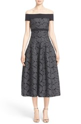 Women's J. Mendel Off The Shoulder Dress With Full Tea Length Skirt