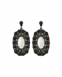 Bavna Oblong Moonstone Spinel And Diamond Drop Earrings
