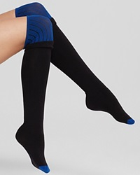 Dkny Colorblock Knit Over The Knee Socks