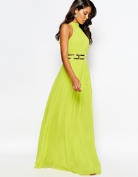 Forever Unique High Neck Pleated Maxi Dress With Belt Lime