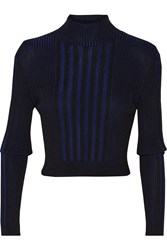 Ohne Titel Ribbed Cotton Blend Turtleneck Blue