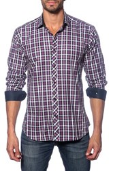 Jared Lang Plaid Long Sleeve Semi Fitted Shirt Purple