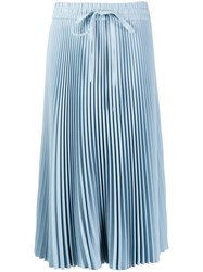 Red Valentino Drawstring Pleated Midi Skirt Blue