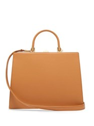 Rodo Frame Top Handle Leather Bag Tan
