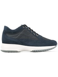 Hogan Lace Up Sneakers Women Leather Suede Nylon Rubber 40 Blue
