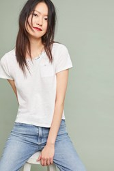 Meadow Rue Trimmed Pocket Tee White