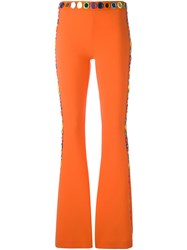Moschino Mirror Embroidered Flared Trousers Yellow Orange