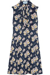 Prada Ruffled Floral Print Crepe Dress Navy