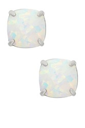 Sterling Silver 8Mm Cushion Cut Created Opal Stud Earrings White