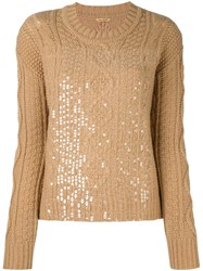 Peter Jensen Cable Knit Sequinned Jumper Brown