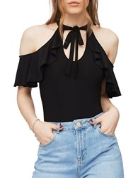 Miss Selfridge Cold Shoulder Bodysuit Black