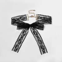 River Island Womens Black Lace Bow Choker