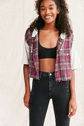 Urban Renewal Remade Hooded Cropped Flannel Shirt Red