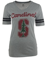 Soffe Women's Short Sleeve Stanford Cardinal V Neck T Shirt Gray