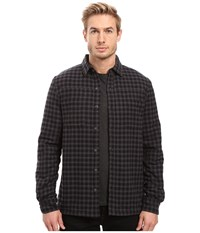 Threads For Thought Sherpa Lined Plaid Workshirt Dark Grey Men's Clothing Gray