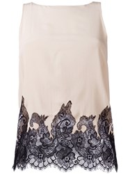 Alice Olivia Lace Detail Blouse Nude Neutrals
