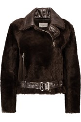 Sandro Vianette Glossed Textured Leather And Shearling Coat Dark Brown
