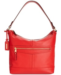 Tignanello Pretty Pockets Leather Hobo Lipstick Red