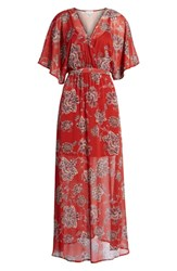 Love Fire Chiffon Maxi Dress Brick Floral