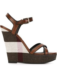 Burberry House Check Wedge Sandals Brown