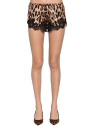 Dolce And Gabbana Printed Satin Lace Shorts Leopard