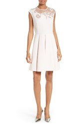 Ted Baker Women's London Dollii Embroidered Illusion Fit And Flare Dress
