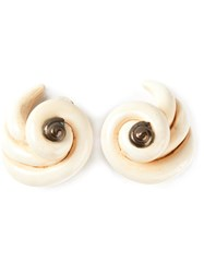 Katheleys Vintage 'Unique Shells' Earrings Nude And Neutrals