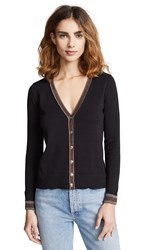 Bop Basics Metallic Trim Cardigan Black Silver Bronze