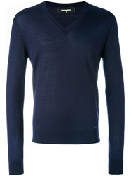 Dsquared2 V Neck Sweater Men Wool L Blue