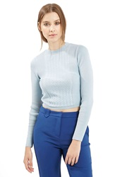 Topshop Long Sleeve Knit Crop Top Petite Light Blue
