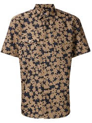 Julien David Woven Floral Shirt Brown