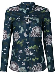 Adam By Adam Lippes Sheer Floral Print Shirt Blue