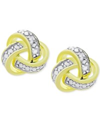 Victoria Townsend Diamond Accent Love Knot Stud Earrings In 18K Gold Plated Sterling Silver Two Tone