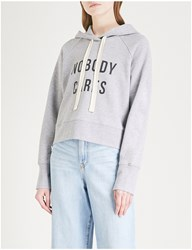 Nobody Denim 'Nobody Cares' Cotton Jersey Hoody Grey Marle