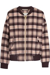 By Malene Birger Cuzia Plaid Wool Blend Bomber Jacket Blush