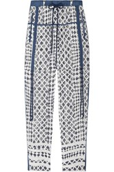Edun Yoruba Cropped Printed Silk Straight Leg Pants Blue