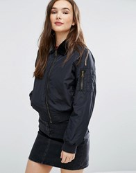 Brave Soul Bomber Jacket With Faux Fur Collar Black