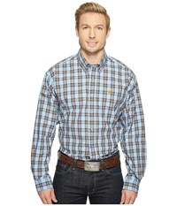 Cinch Long Sleeve Plain Weave Plaid Light Blue Men's Clothing